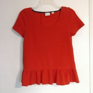 Anthropologie Postage Stamp Red Ruffle Back Top